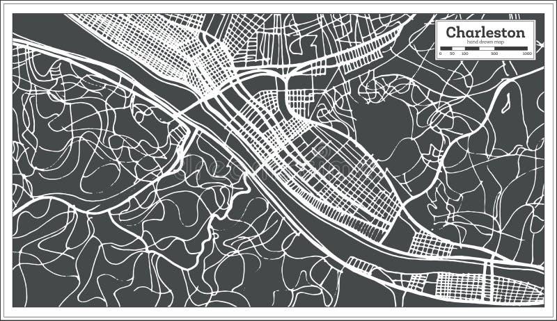 查尔斯顿美国在减速火箭的样式的市地图 黑白向量例证 向量例证