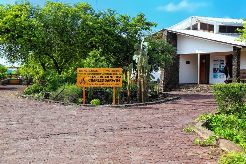 查尔斯・达尔文在圣克鲁斯岛的研究工作站在Galapago 库存照片