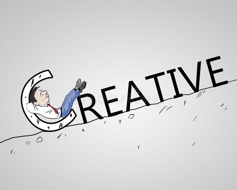 查找一个创造性的解决方法的生意人 皇族释放例证