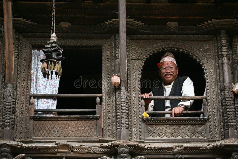 查找人尼泊尔senoir视窗 库存照片