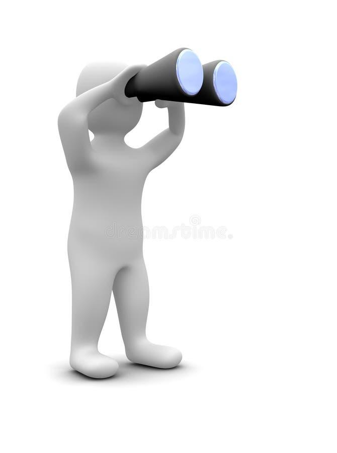 查找人的双筒望远镜 向量例证