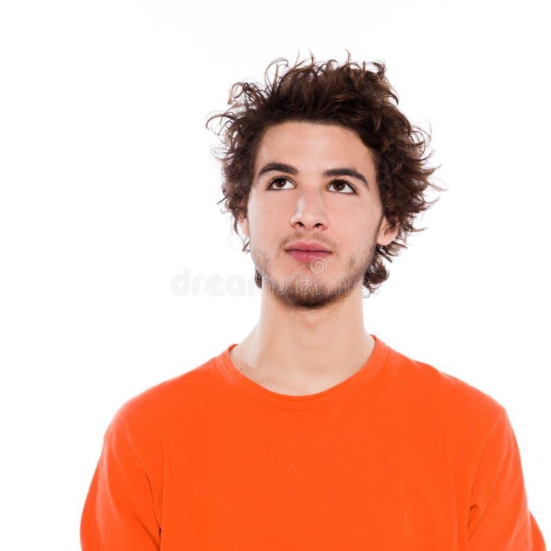 查找人纵向严重的年轻人 免版税图库摄影