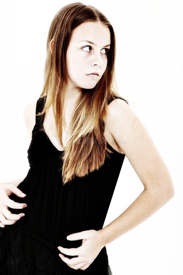 查找在肩膀的害怕女孩青少年 库存图片