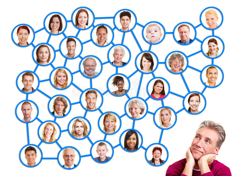 查找对社会网络组的人 免版税库存照片