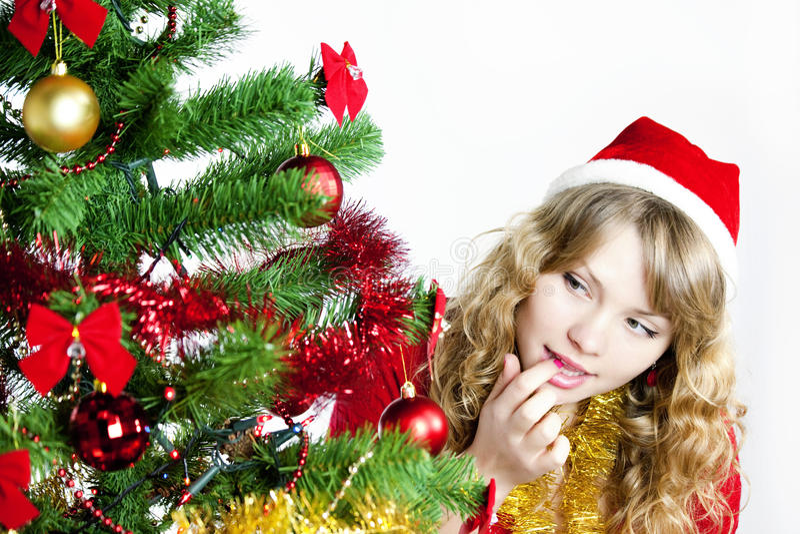查找结构树妇女的圣诞节 免版税库存照片