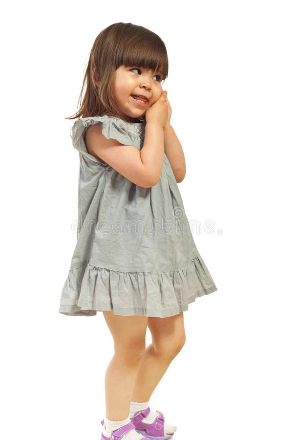 查找逗人喜爱的女孩斜向一边 免版税图库摄影