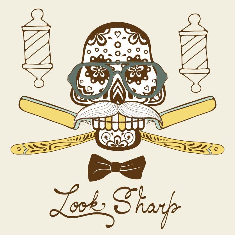 查找锋利 有髭和帽子的头骨 减速火箭的理发店象征的样式手拉的图表 向量例证