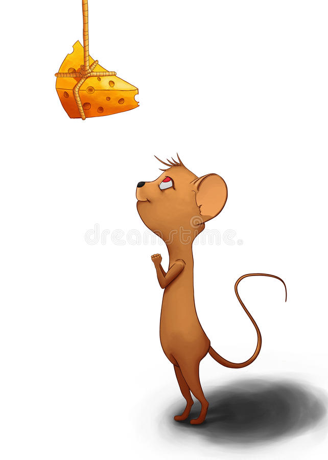 查找鼠标的干酪 皇族释放例证
