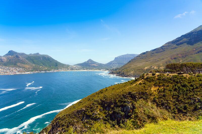 查普曼在南非开普敦的峰 复制文本的空间 免版税库存照片