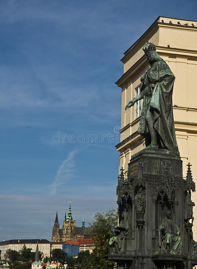 查理四世雕象,布拉格,捷克 库存照片