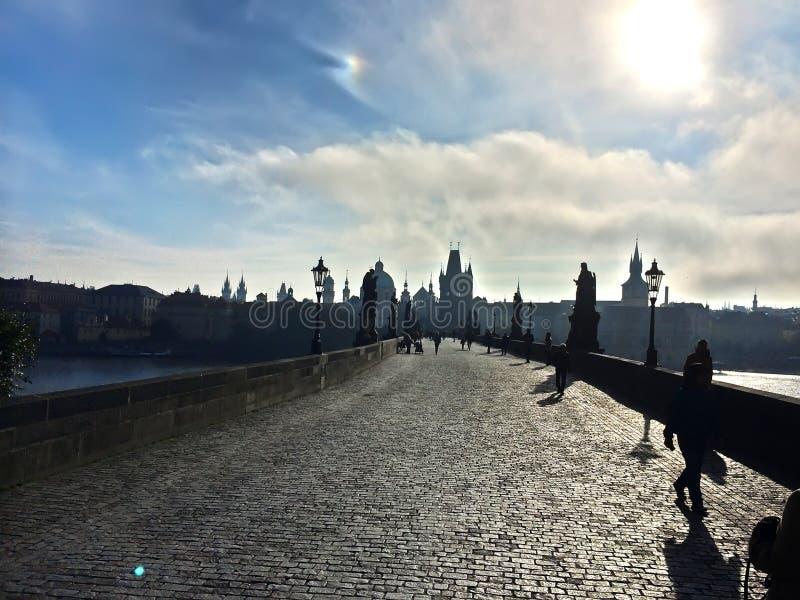 查理大桥,人和大厦剪影在江边 库存图片