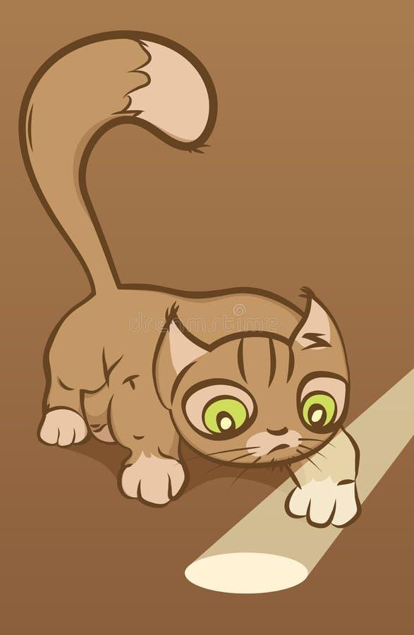 查看光束的滑稽的猫。 向量例证