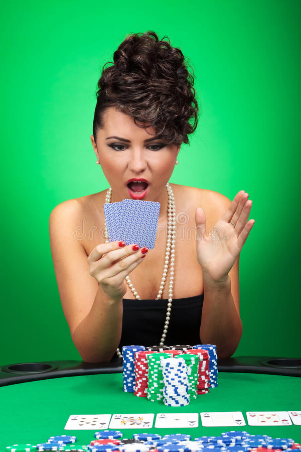 查看惊奇看板卡的妇女 免版税库存照片