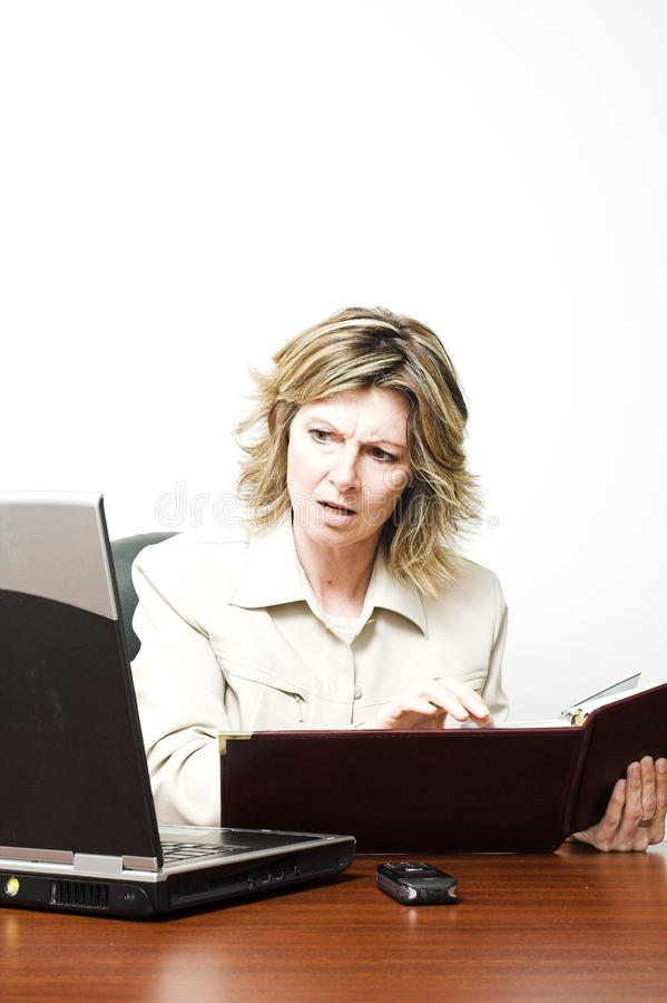 查看膝上型计算机的女商人 库存图片