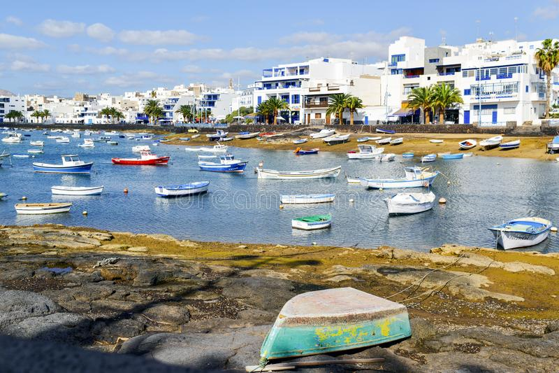 查科de圣希内斯,在阿雷西费,兰萨罗特岛,西班牙 免版税库存照片