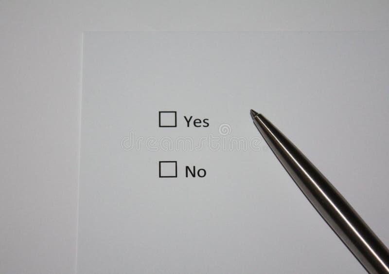 查询表是或否 政策制定概念照片 库存照片
