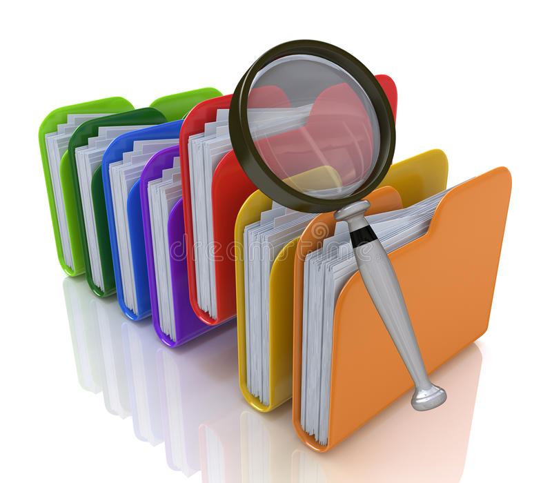 查寻在文件夹的文件 库存例证