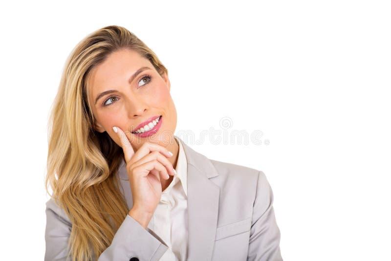 查寻的女商人 免版税库存照片