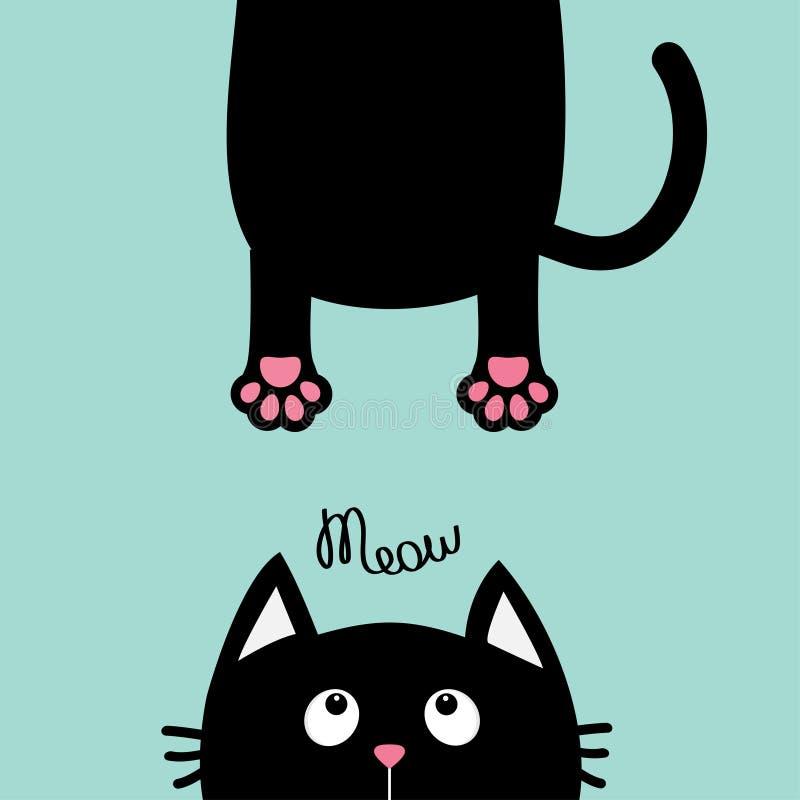 查寻的恶意嘘声 滑稽的面孔头剪影 猫叫声文本 垂悬的肥胖身体爪子印刷品,尾巴 Kawaii动物 到达婴孩看板卡乐趣例证 逗人喜爱的推车 向量例证