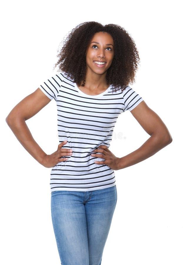 查寻非裔美国人的妇女微笑和 免版税图库摄影