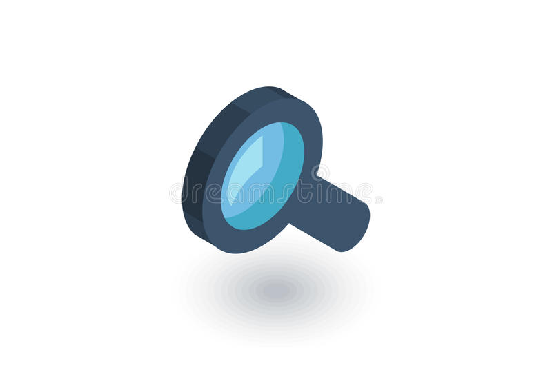 查寻,放大镜等量平的象 3d向量 库存例证