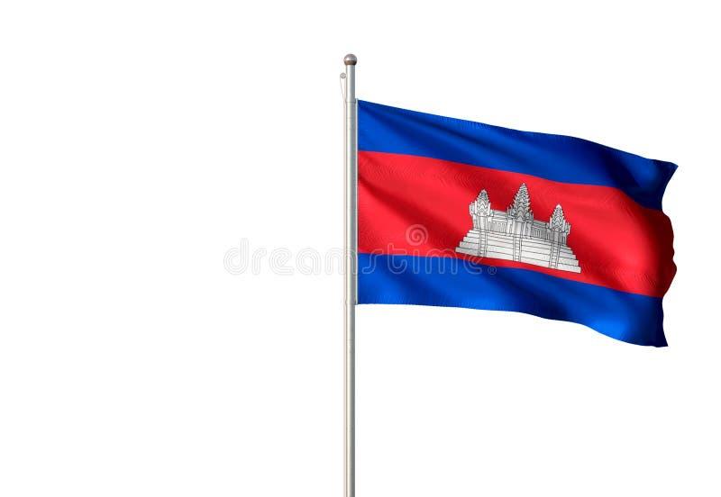 柬埔寨全国沙文主义情绪的被隔绝的白色背景现实3d例证 向量例证