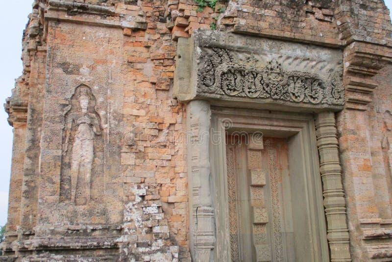 柬埔寨吴哥城寺庙吴哥窟古老高棉建筑学 免版税图库摄影