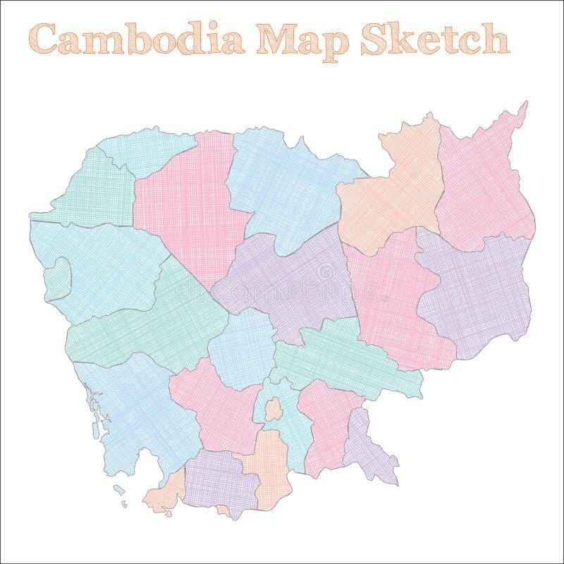 柬埔寨地图 向量例证