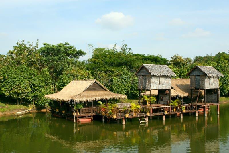 柬埔寨安置高跷 免版税库存图片