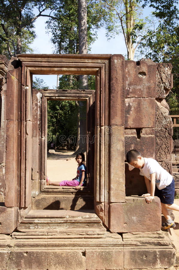 柬埔寨寺庙废墟 免版税库存照片