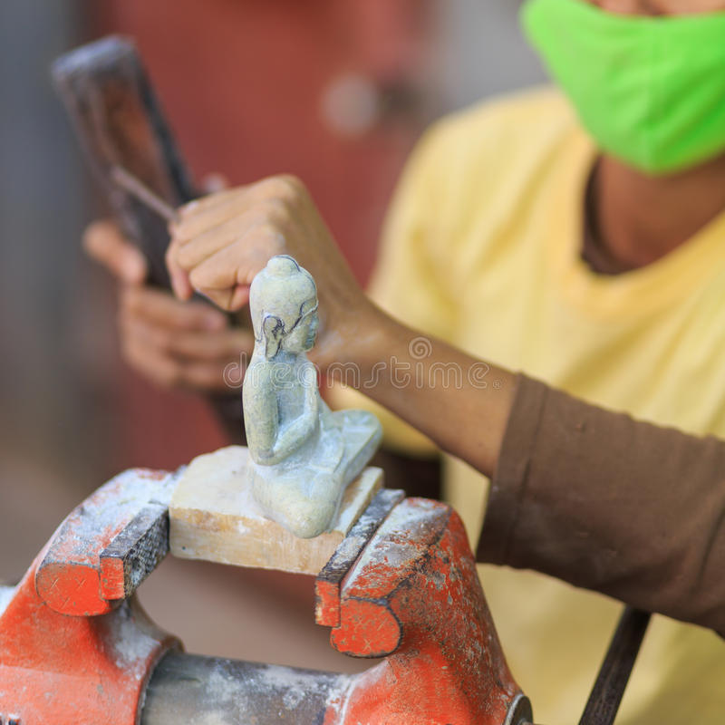 柬埔寨手工制造大理石地方工艺被雕刻的 免版税库存图片