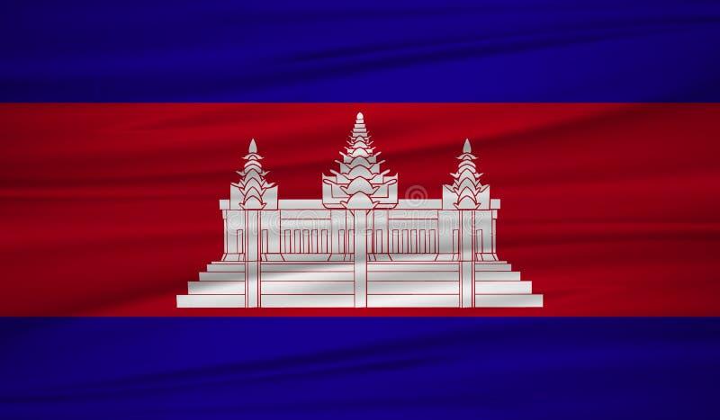 柬埔寨旗子传染媒介 导航柬埔寨blowig旗子在风的 向量例证