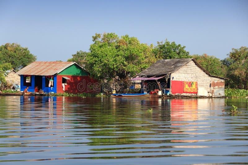 柬埔寨浮动村庄 库存照片