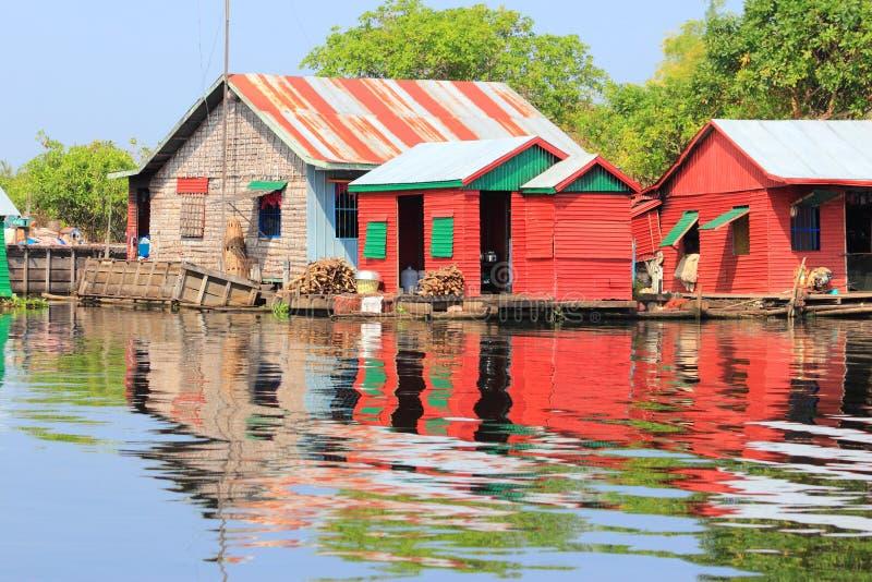 柬埔寨浮动村庄 库存图片