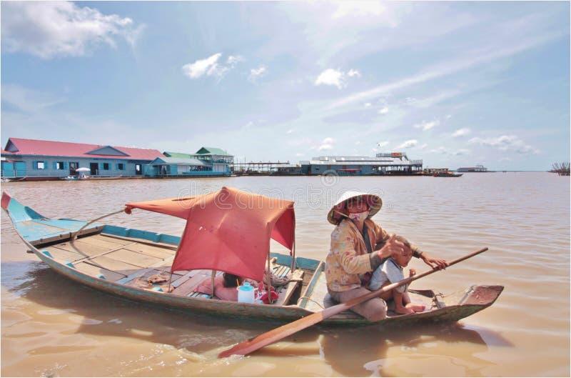 柬埔寨浮动的村庄 库存照片