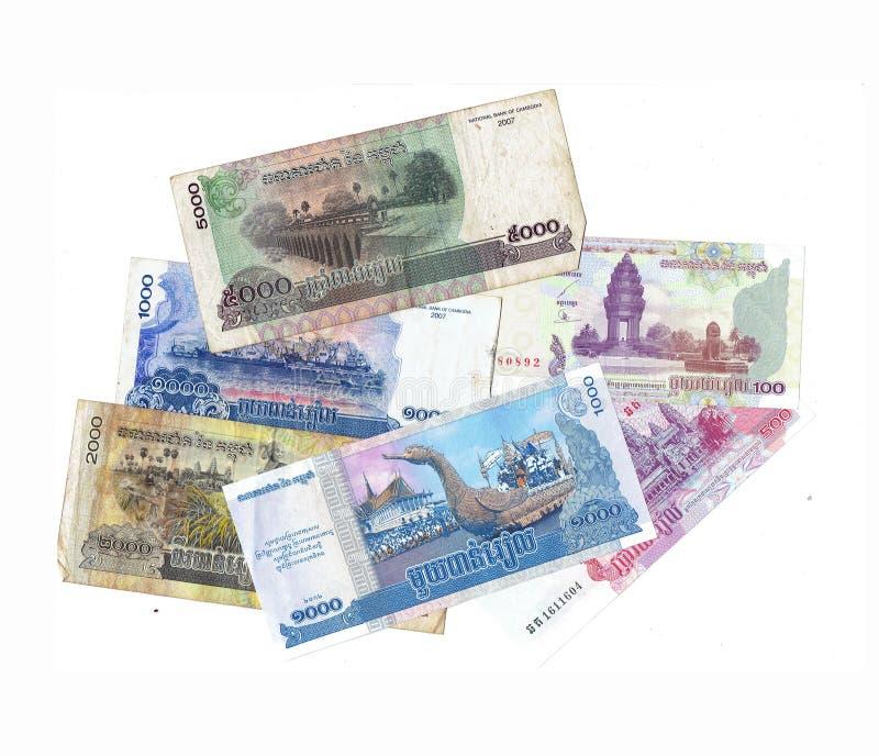 柬埔寨里亚尔票据 免版税库存照片
