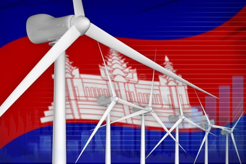 柬埔寨风能力量数字图表概念-供选择的自然能工业例证 3d?? 皇族释放例证