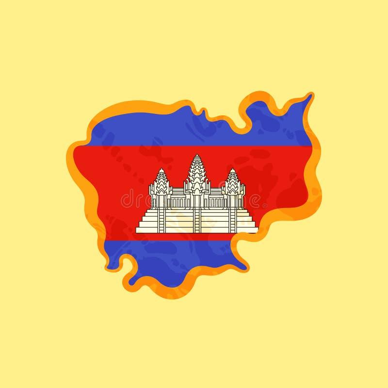 柬埔寨-地图上色与柬埔寨旗子 皇族释放例证