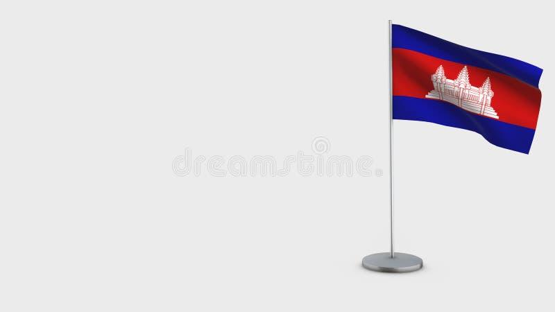 柬埔寨3D挥动的旗子例证 库存例证