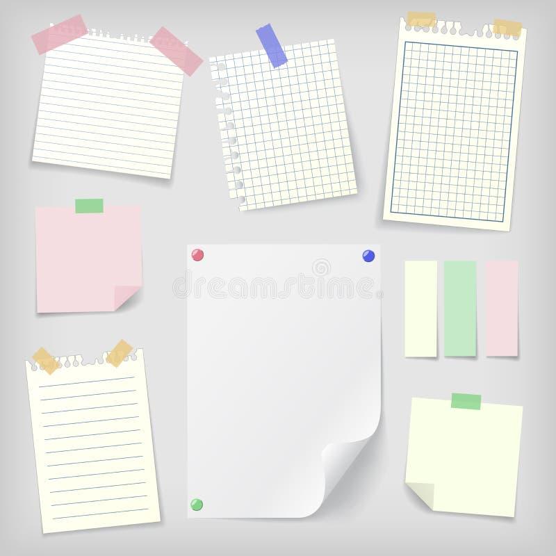 柱子套稠粘的笔记和笔记本纸 向量例证