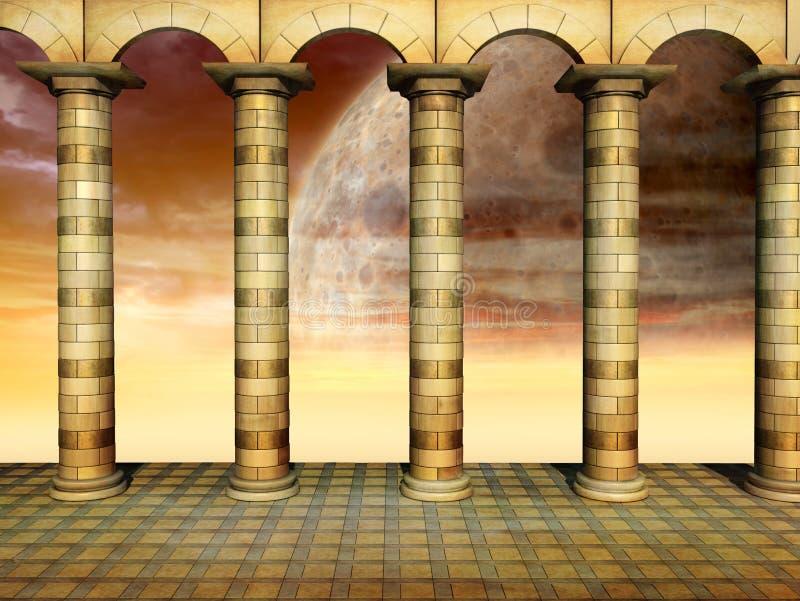 柱廊金子 向量例证