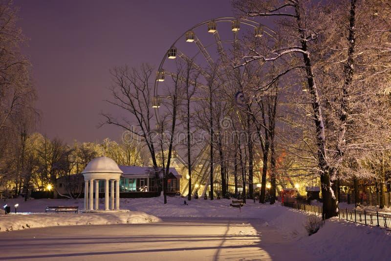 柱廊和弗累斯大转轮Yunost公园 免版税库存照片