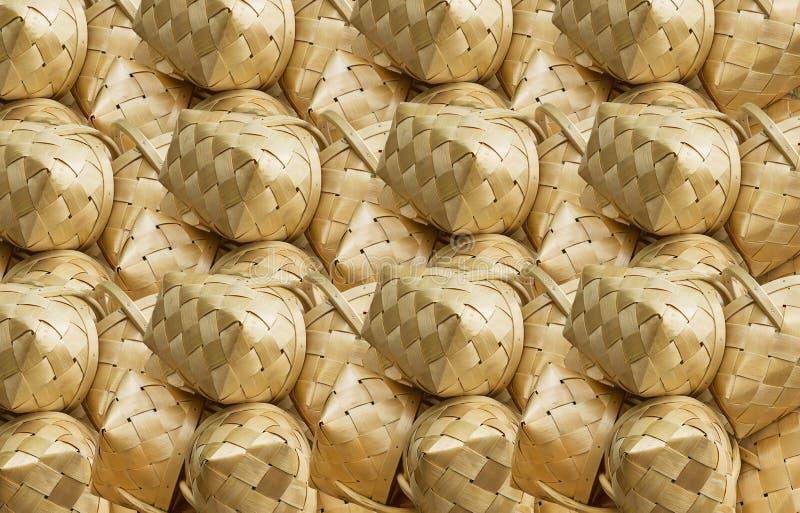 柳条制品样式,桦树篮子秸杆背景土气纹理 免版税图库摄影