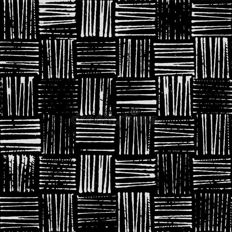 柳条纹理,土气邮票样式无缝的传染媒介样式,黑白 向量例证