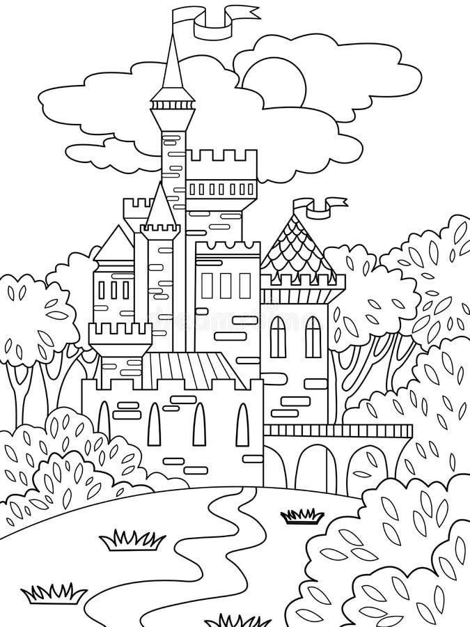 柴尔兹在大厦由在经常的砖做成的森林里上色了图片城堡 儿童上色 投反对票 皇族释放例证