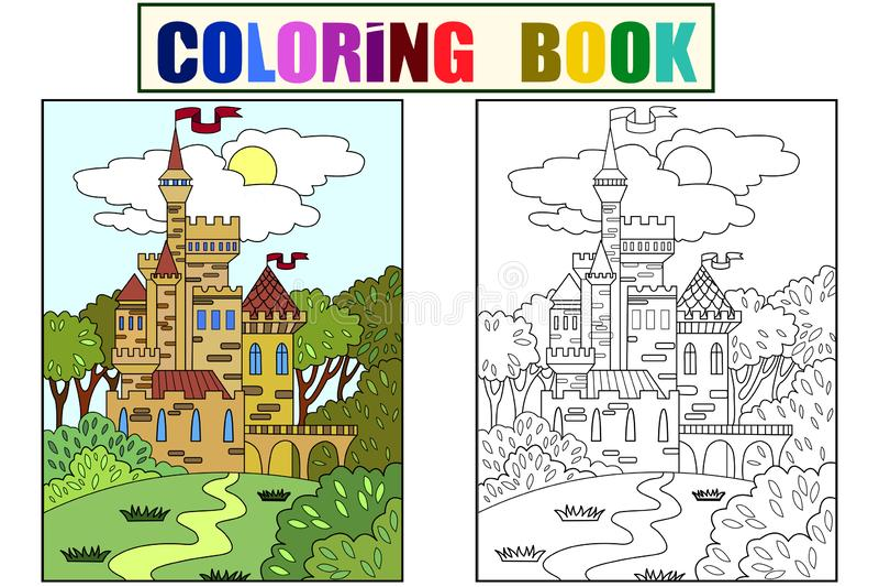柴尔兹在大厦由在经常的砖做成的森林里上色了图片城堡 儿童上色 投反对票 向量例证