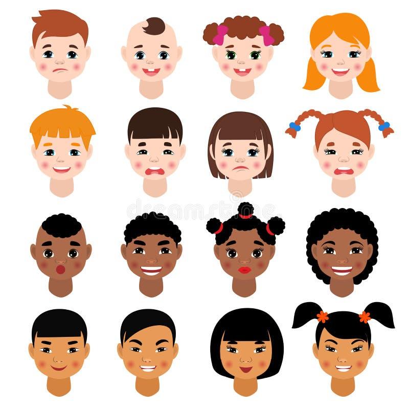 柴尔兹画象传染媒介哄骗字符与发型和动画片人的女孩或男孩面孔有各种图片