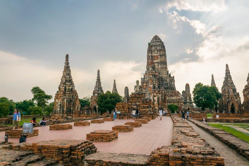 柴瓦塔那兰寺在Ayuthaya,泰国 库存图片