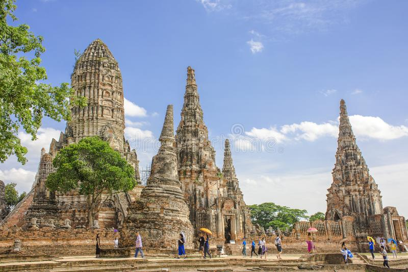 柴瓦塔那兰寺,Ayuthaya,泰国 库存照片
