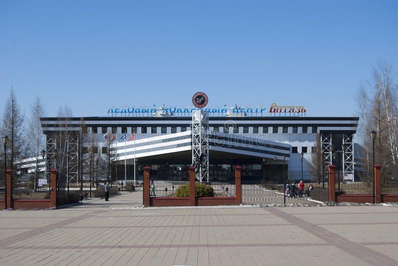 柴霍甫,俄罗斯- 2018年4月15日:冰中心曲棍球队 免版税库存照片